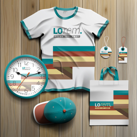 souvenirs: White promotional souvenirs design for corporate identity with color stripes. Stationery set