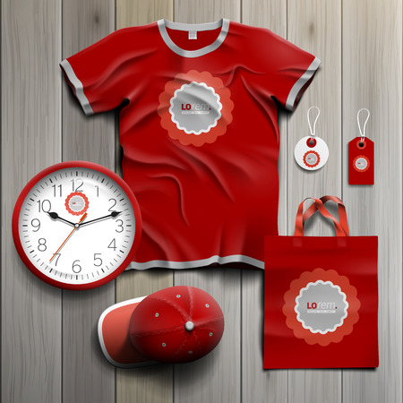 souvenirs: Red classic promotional souvenirs design for corporate identity with round wavy element. Stationery set