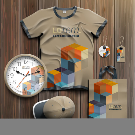 souvenirs: Geometric promotional souvenirs design for corporate identity with color cubes. Stationery set Illustration