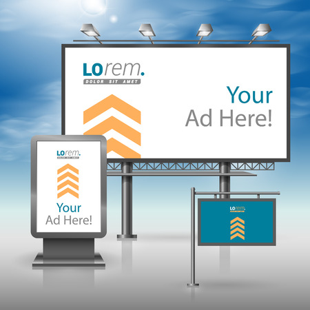 ad board: Blue outdoor advertising design for corporate identity with yellow arrows. Stationery set