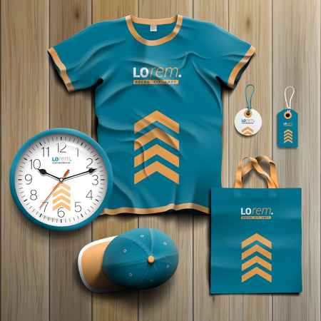 souvenirs: Blue promotional souvenirs design for corporate identity with yellow arrows. Stationery set