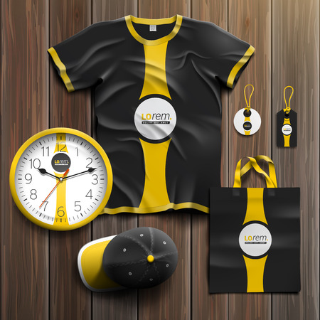 tshirts: Black classic promotional souvenirs design for corporate identity with yellow central element. Stationery set Illustration