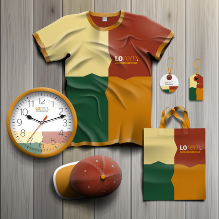 souvenirs: Color promotional souvenirs design for corporate identity with puzzle elements. Stationery set