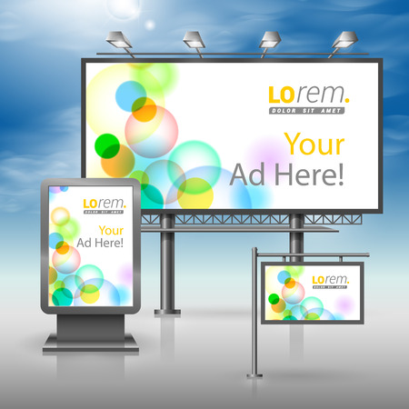 outdoor advertising: White outdoor advertising design for corporate identity with color bubbles. Stationery set