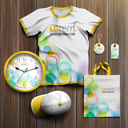 souvenirs: White promotional souvenirs design for corporate identity with color bubbles. Stationery set