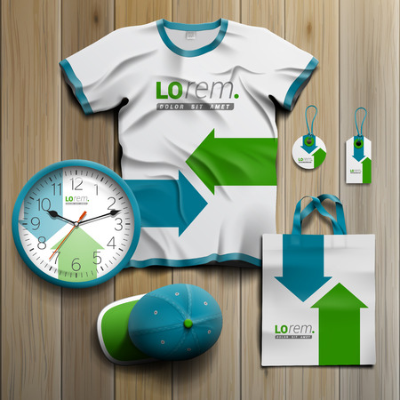 stationary: White promotional souvenirs design for corporate identity with blue and green arrows. Stationery set