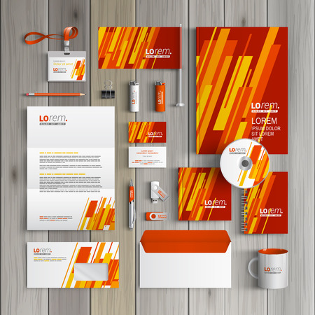 Red corporate identity template design with yellow and orange diagonal shapes. Business stationery