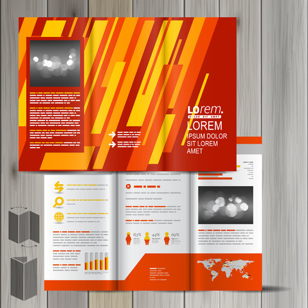 Red Brochure Template Design With Yellow And Orange Diagonal