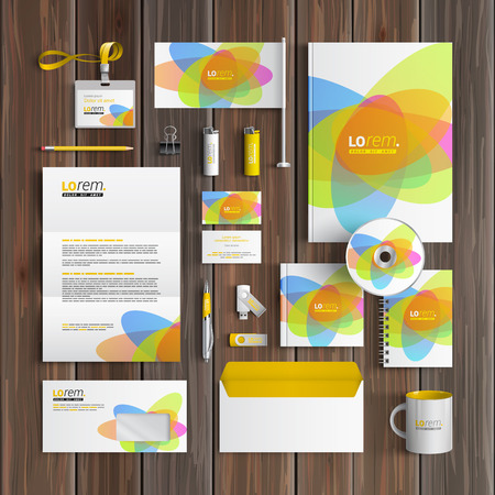 identities: Creative corporate identity template design with color round elements. Business stationery