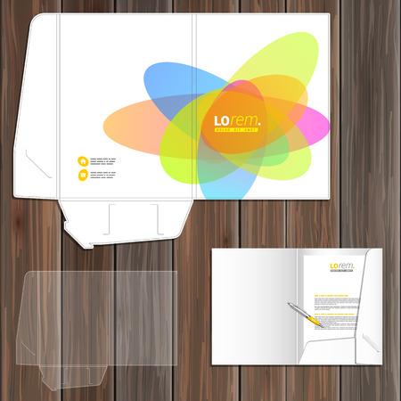 papeleria: Diseño del modelo de la carpeta creativa de la identidad corporativa con elementos redondos de color. montaje de papelería