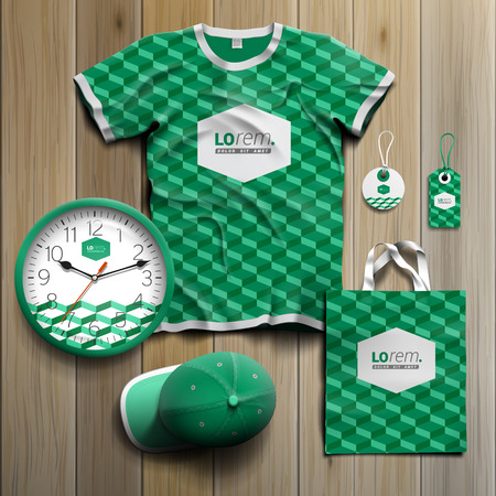 souvenirs: Classic green promotional souvenirs design for corporate identity with geometric pattern. Stationery set