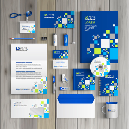 Blue corporate identity template design with pattern consists white and green squares. Business stationery