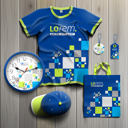 souvenirs: Blue promotional souvenirs design for corporate identity with pattern consists white and green squares. Stationery set