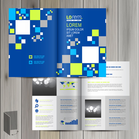 layout: Blue brochure template design with pattern consists white and green squares. Cover layout