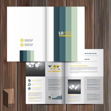 lineas verticales: Diseño del modelo del folleto blanca con líneas verticales azules. El diseño de la cubierta