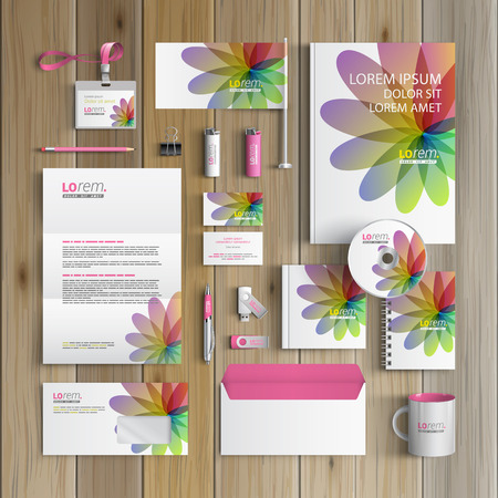 White floral corporate identity template design with color shapes. Business stationery