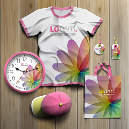 souvenirs: White floral promotional souvenirs design for corporate identity with color shapes. Stationery set
