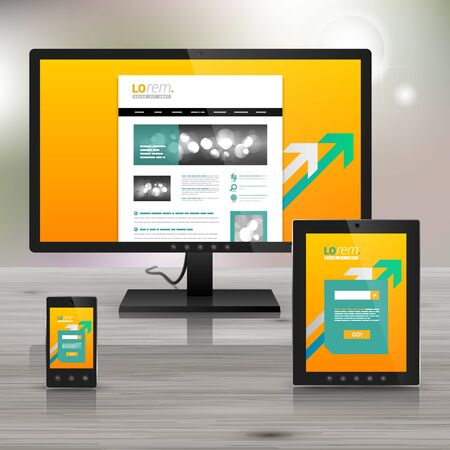 site backgrounds: Yellow application template design for corporate identity with white and green arrows. Stationery set