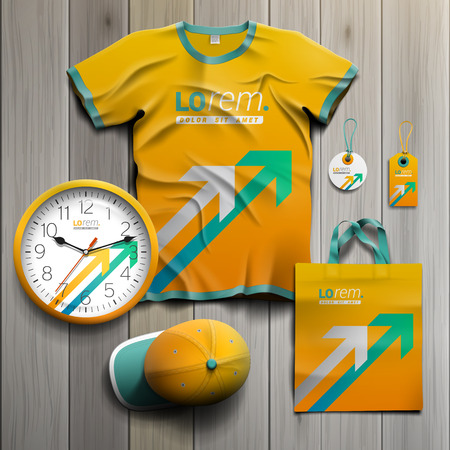 green arrows: Yellow promotional souvenirs design for corporate identity with white and green arrows. Stationery set