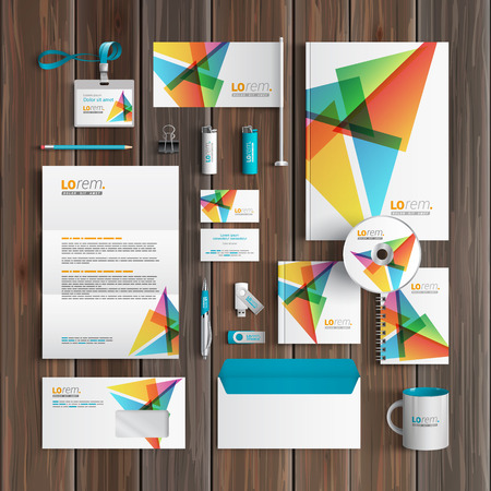 White creative corporate identity template design with color triangles. Business stationery