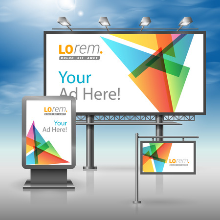 White creative outdoor advertising design for corporate identity with color triangles. Stationery set