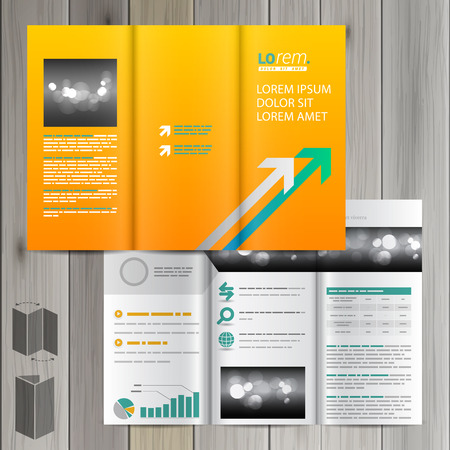 green arrows: Yellow brochure template design with white and green arrows. Cover layout