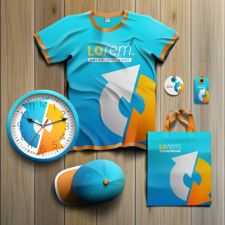 business shirts: Blue promotional souvenirs design for corporate identity with white and yellow arrows. Stationery set