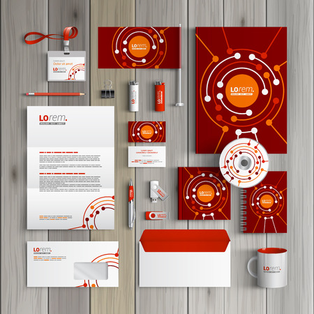 stationery set: Red corporate identity template design with round digital elements. Business stationery