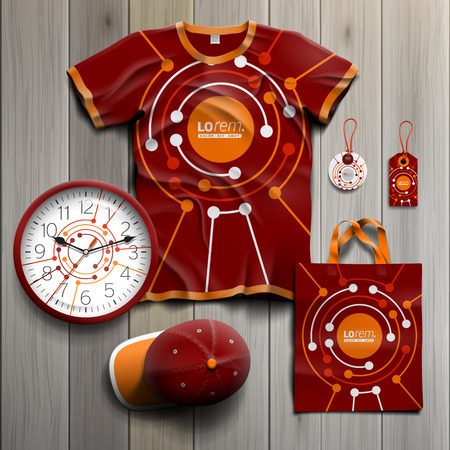 souvenirs: Red promotional souvenirs design for corporate identity with round digital elements. Stationery set