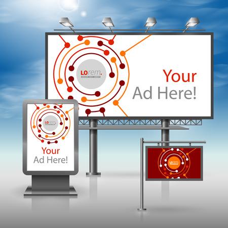Red outdoor reclame-ontwerp voor de corporate identity met ronde digitale elementen. Stationery set
