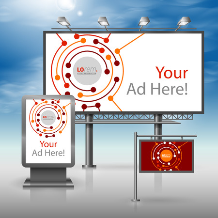 Red outdoor advertising design for corporate identity with round digital elements. Stationery set