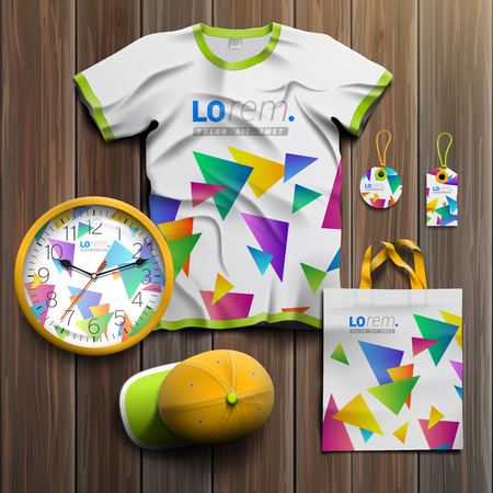 souvenirs: White creative promotional souvenirs design for corporate identity with color triangles. Stationery set
