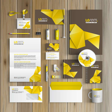 Brown corporate identity template design with yellow origami paper. Business stationery Illustration