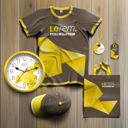 souvenirs: Brown promotional souvenirs design for corporate identity with yellow origami paper. Stationery set