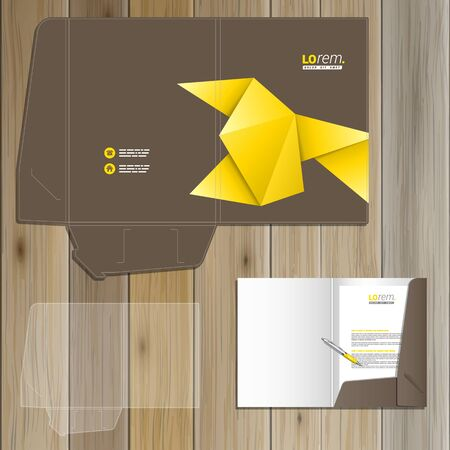 folder: Brown folder template design for corporate identity with yellow origami paper. Stationery set Illustration