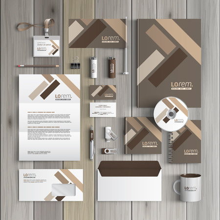 Brown corporate identity template design with parquet elements. Business stationery 向量圖像