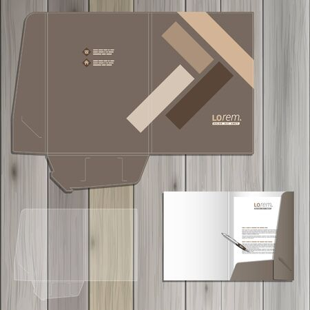 parquetry: Brown folder template design for corporate identity with parquet elements. Stationery set