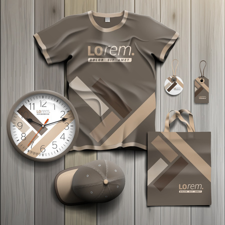 souvenirs: Brown promotional souvenirs design for corporate identity with parquet elements. Stationery set Illustration
