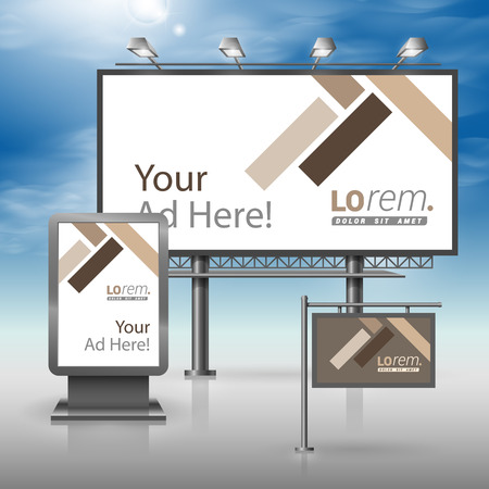 billboards: Brown outdoor advertising design for corporate identity with parquet elements. Stationery set