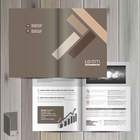 Brown brochure template design met parket elementen. Cover layout