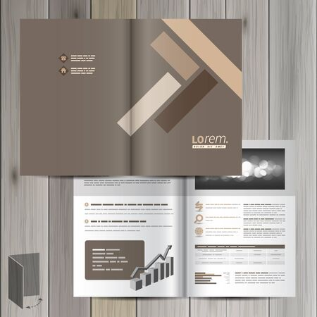 Brown brochure template design with parquet elements. Cover layout