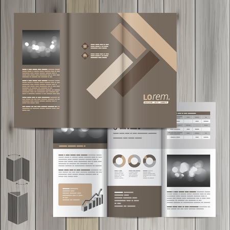 flooring: Brown brochure template design with parquet elements. Cover layout