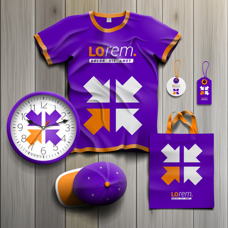 souvenirs: Purple promotional souvenirs design for corporate identity with four arrows. Stationery set
