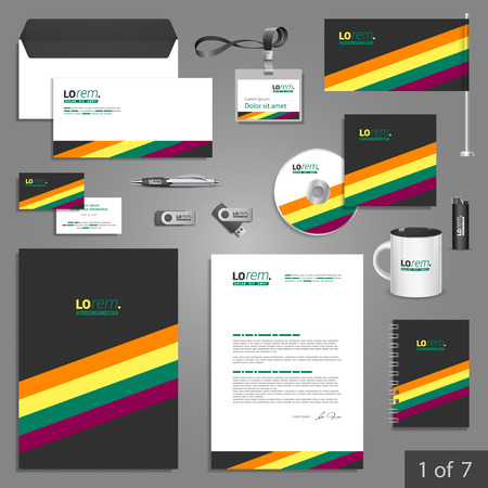 documentation: Black stationery template design with color lines. Documentation for business. Illustration