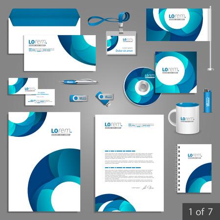 White kantoorbehoeftenmalplaatje ontwerp met blauwe ronde elementen. Documentatie voor het bedrijfsleven.