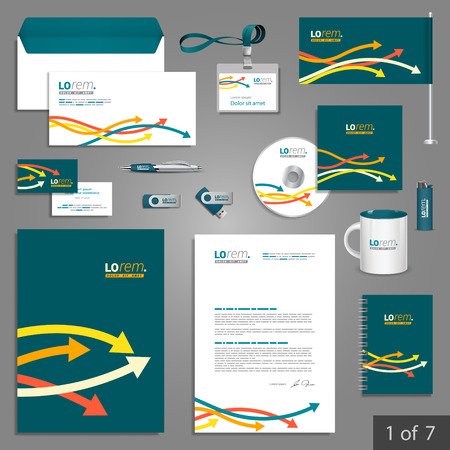 documentation: Blue stationery template design with color arrows. Documentation for business. Illustration