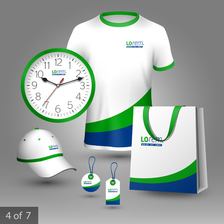 business shirts: White promotional souvenirs design for company with blue and green lines. Elements of stationery.