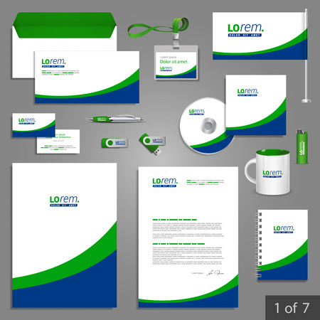 stationary: White stationery template design with blue and green lines. Documentation for business. Illustration