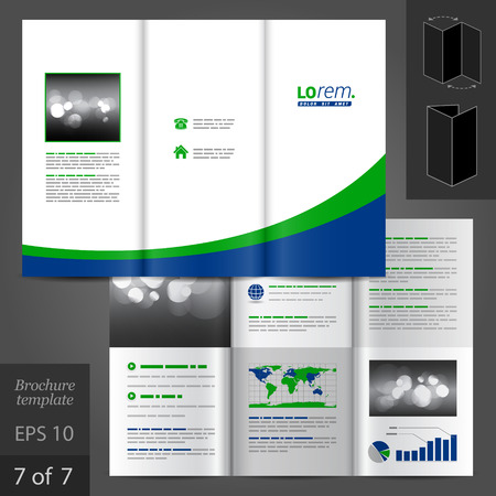 vector sample: White vector brochure template design with blue and green lines