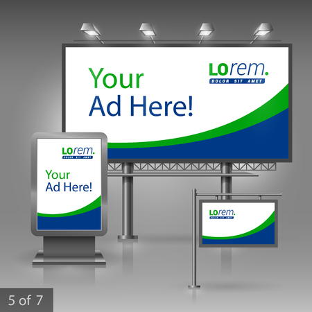 outdoor advertising: White outdoor advertising design for company with blue and green lines. Elements of stationery.